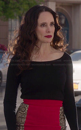 Victoria's red skirt with lace side panels on Revenge
