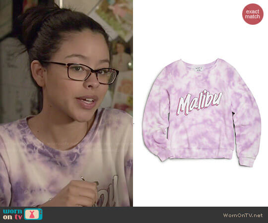 Wildfox Girls' Malibu Sweatshirt worn by Cierra Ramirez on The Fosters