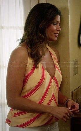 Xiomara's yellow and red striped halter top on Jane the Virgin