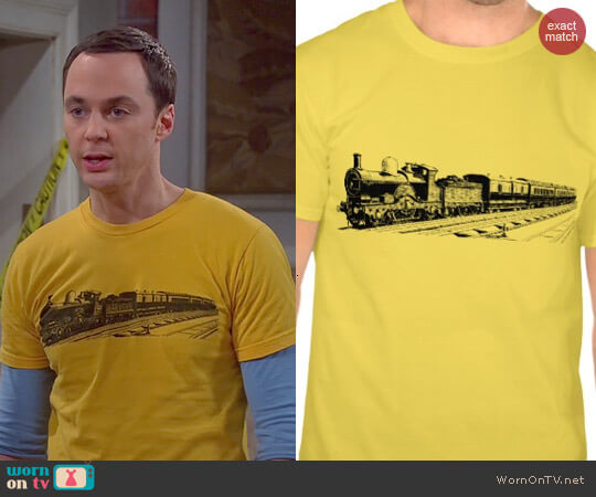 Zazzle Vintage Train Tee in Gold worn by Sheldon Cooper (Jim Parsons) on The Big Bang Theory