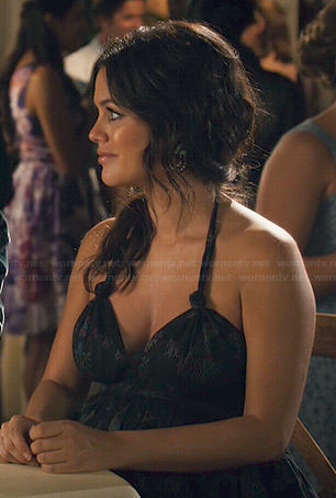 Zoe's black printed halter neck dress on Hart Of Dixie