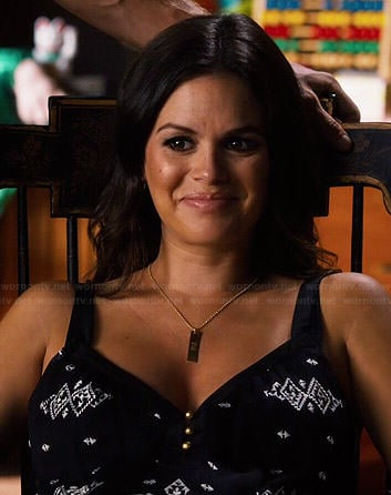 Zoe's black and white embroidered top on Hart of Dixie