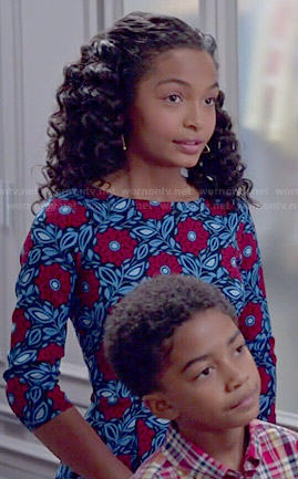 Zoey's mixed plaid shirt and zip detail jeans on Black-ish