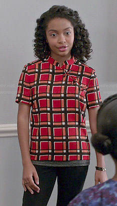 Zoey's red checked top on Black-ish