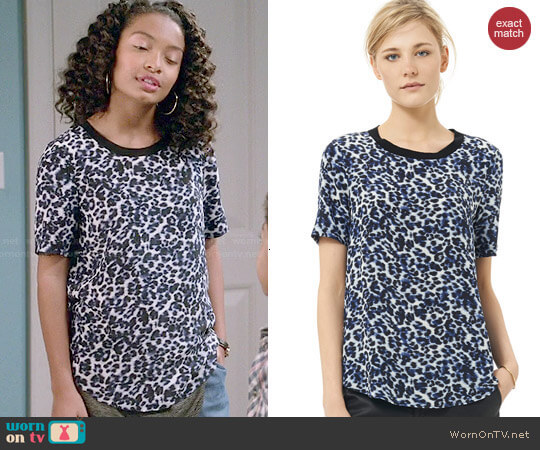 Rebecca Taylor Lynx Print Crepe de Chine Tee worn by Zoey Johnson (Yara Shahidi) on Blackish
