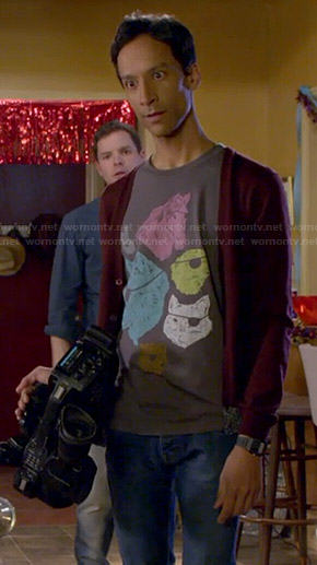 Abed's animals with eyepatches t-shirt on Community