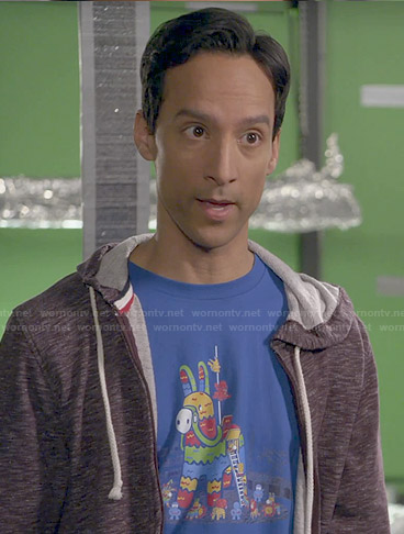 Abed's blue pinata graphic tshirt on Community