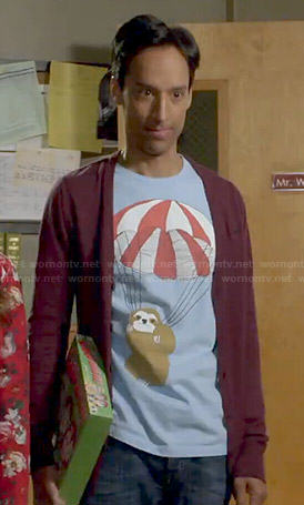 Abed's parachuting sloth tee on Community