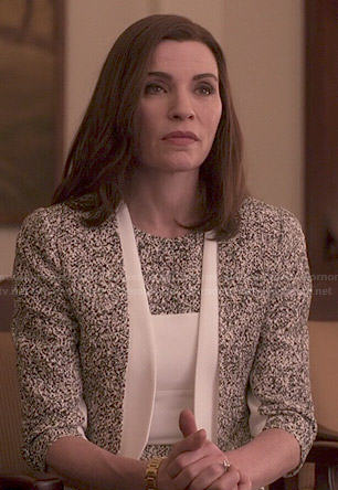 Alicia's speckled print jacket and dress set on The Good Wife