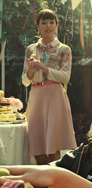 Alison's pink floral blouse and pink skirt on Orphan Black