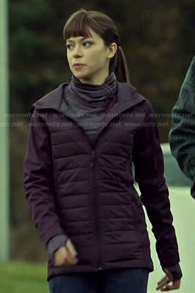 Alison's purple jacket and mock-neck top on Orphan Black