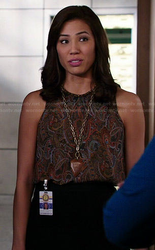 Angela's paisley top on Bones