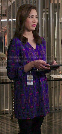 Angela's purple printed v-neck dress on Bones