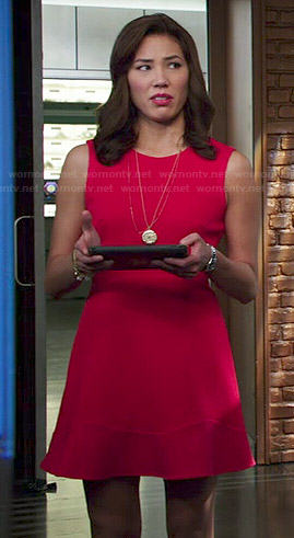 Angela's red fit and flare dress on Bones