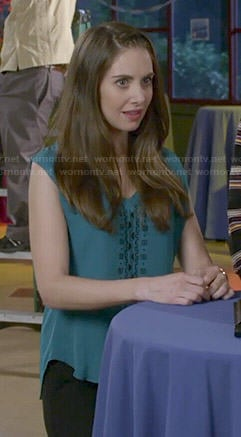 Annie's teal green embroidered front top on Community