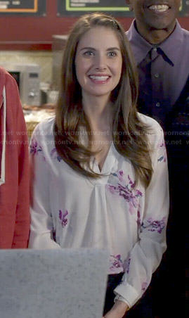 Annie's white and pink floral blouse on Community