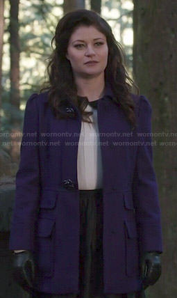 Belle's purple coat and white collared top on Once Upon a Time