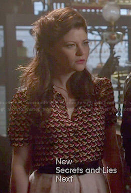 Belle's printed blouse on Once Upon a Time