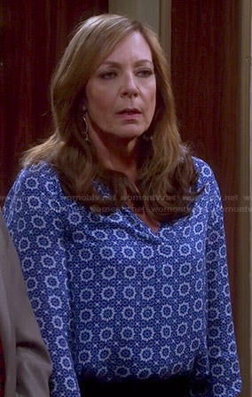 Bonnie's blue printed blouse on Mom
