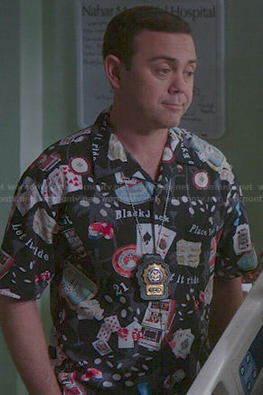 Boyle's blackjack print shirt on Brooklyn 99