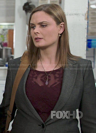 Brennan's burgundy embroidered top on Bones