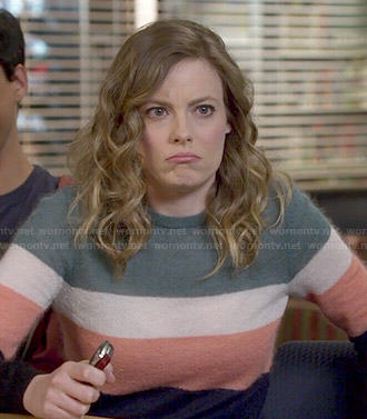 Britta's multi colored stripe sweater on Community
