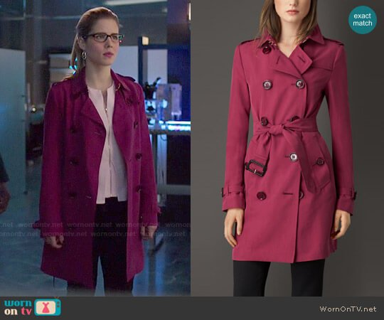 Burberry Silk Trench worn by Emily Bett Rickards on Arrow