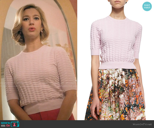 Carven cropped basket knit sweater worn by Petra Solano (Yael Grobglas) on Jane the Virgin
