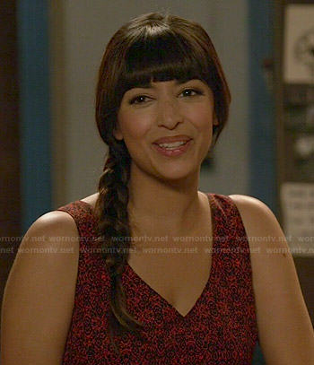 Cece's red floral jumpsuit on New Girl