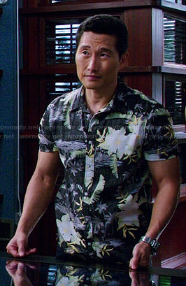 Chin's black tropical shirt on Hawaii Five-O