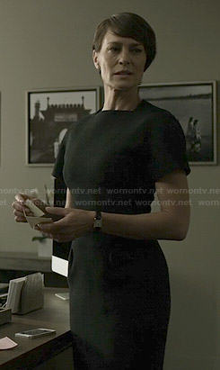 Claire's black short sleeve dress on House of Cards
