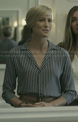 Claire's blue striped blouse on House of Cards