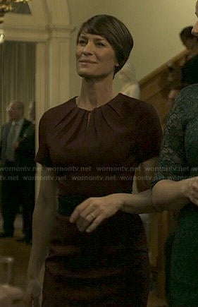 Claire's burgundy front keyhole dress on House of Cards