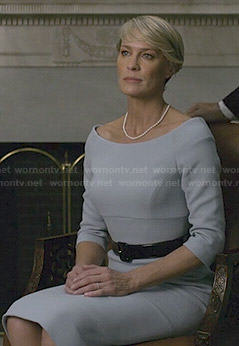 Claire's sky blue wide neck dress on House of Cards