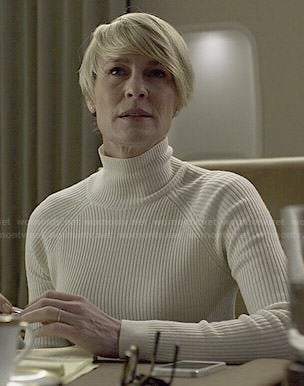 Claire's white mock neck sweater on House of Cards