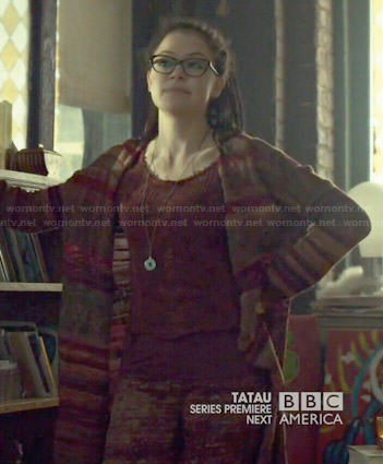 Cosima's long striped cardigan on Orphan Black