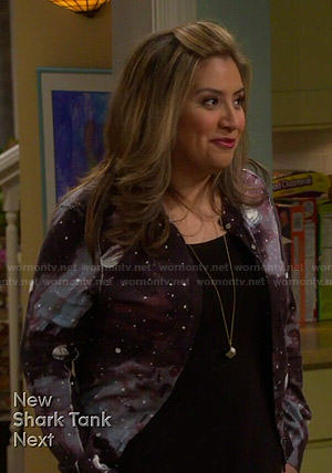Cristela's galaxy print cardigan on Cristela
