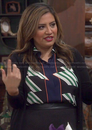 Cristela's diagonal stripe print blouse on Cristela