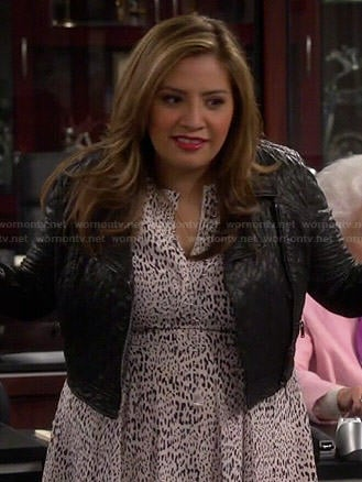 Cristela's leopard print midi dress and leather jacket on Cristela