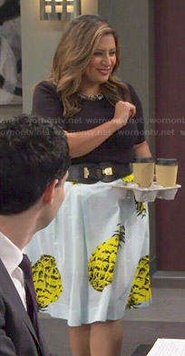 Cristela's pineapple print skirt and black embellished neck top on Cristela