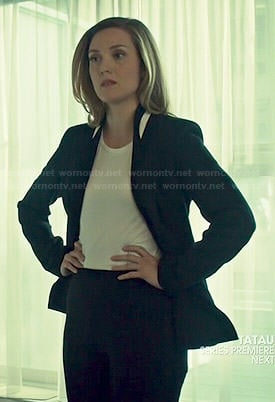 Delphine's black blazer with white trim on Orphan Black