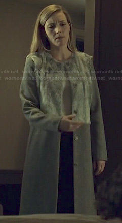 Delphine's grey fur panel coat on Orphan Black