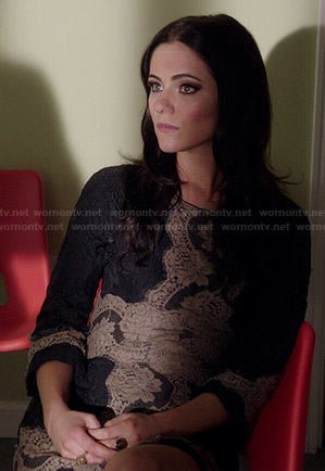 Princess Eleanor's black and nude lace dress on The Royals