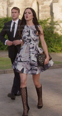 Princess Eleanor's printed fit and flare dress and cutout boots on The Royals