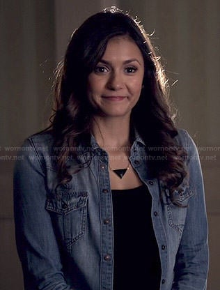 Elena's denim shirt on The Vampire Diaries