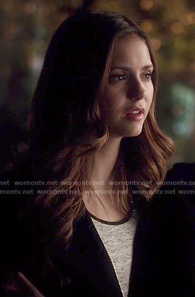 Elena's grey top with black trim on The Vampire Diaries