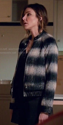 Ellie's striped leather trim bomber jacket on Cougar Town