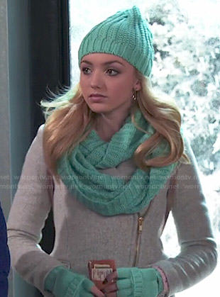 Emma's grey zipped coat and turquoise gloves, scarf and beanie on Jessie