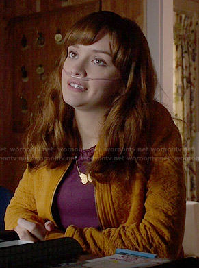 Emma's yellow textured jacket on Bates Motel