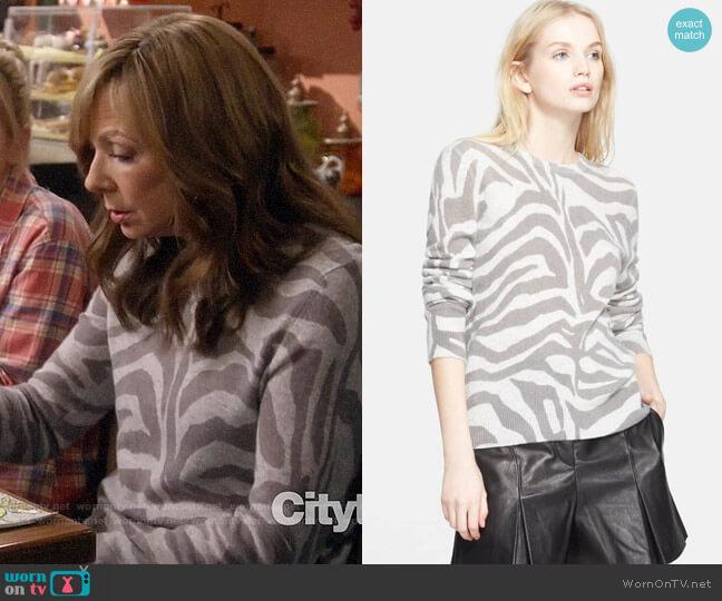 Equipment Shane Zebra Sweater worn by Bonnie Plunkett (Allison Janney) on Mom